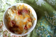 Twice Baked Potato Casserole https://onegirlstasteonlife.wordpress.com/2012/06/06/single-serve-twice-baked-potato-casserole/
